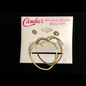 Gold & Rhinestone Heart Hoops and Stud Earrings